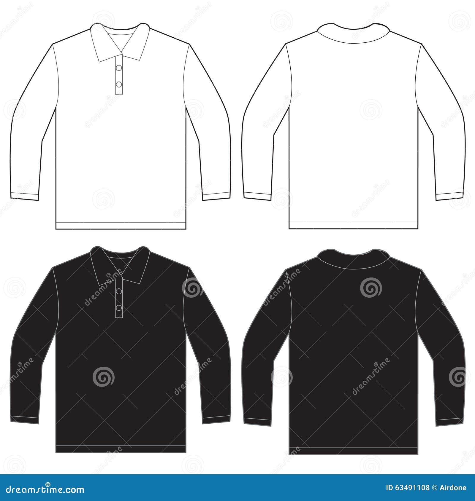 Shirt design on sleeve - Black White Long Sleeve Polo Shirt Design Template Royalty Free Stock Photos