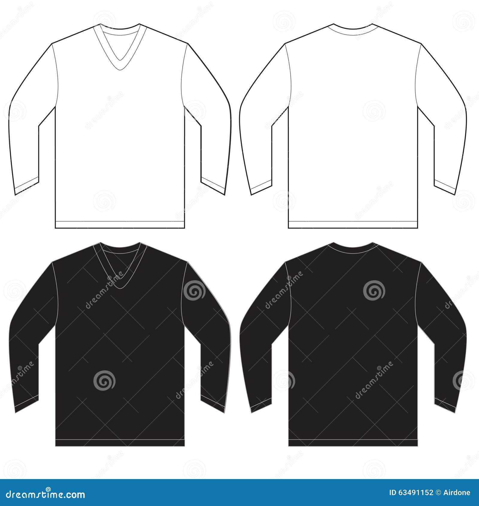 Black White Long Sleeve V-Neck Shirt Template Stock Vector