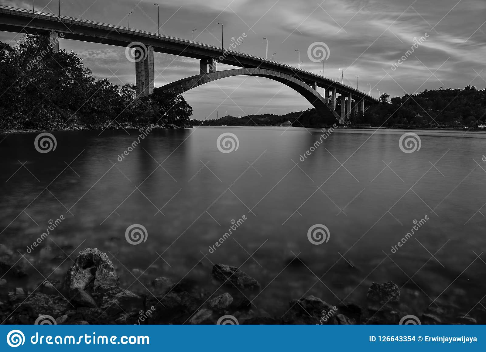 Black and white longexposure Photos. Black and white  wonderful day in Indonesia Stock Images