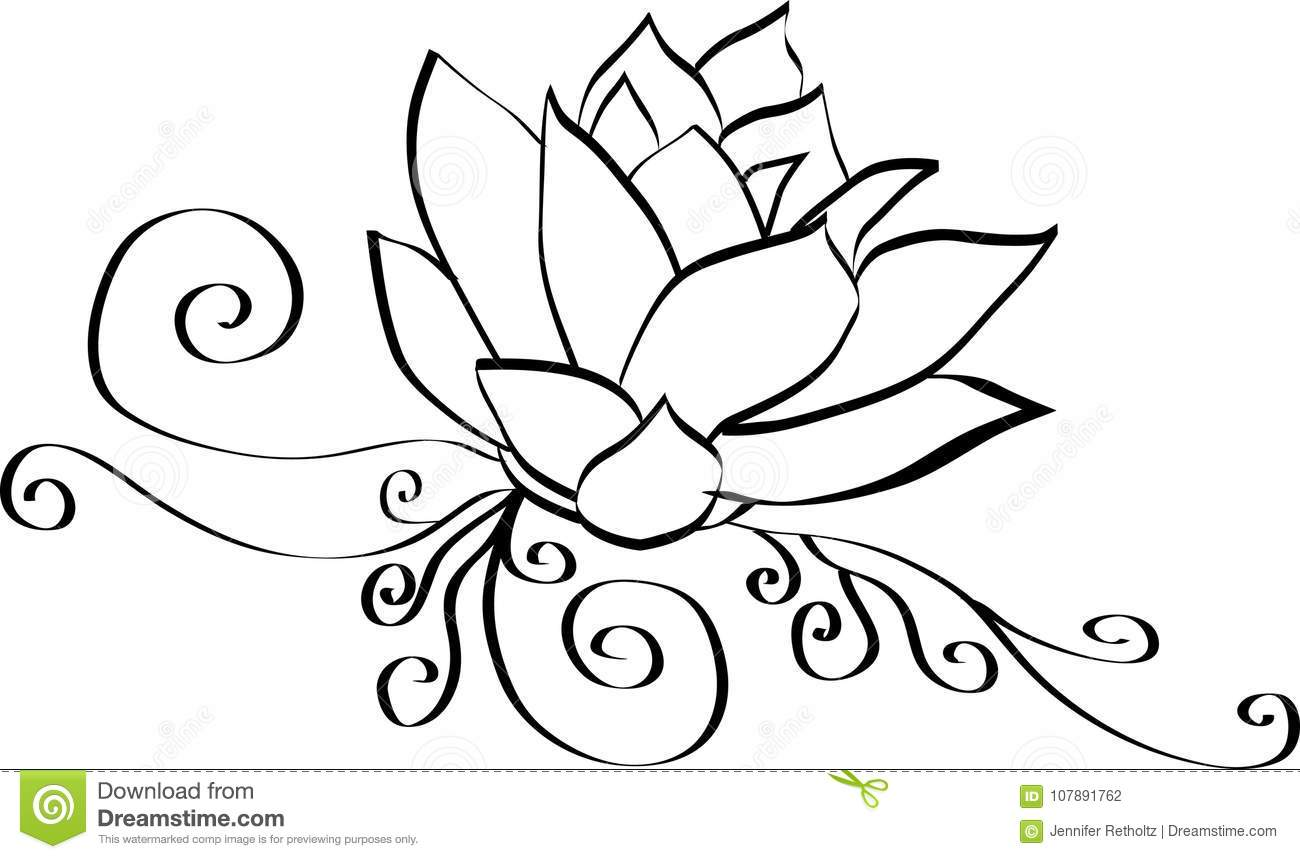Black And White Lotus Flower Stock Vector Illustration Of Culture