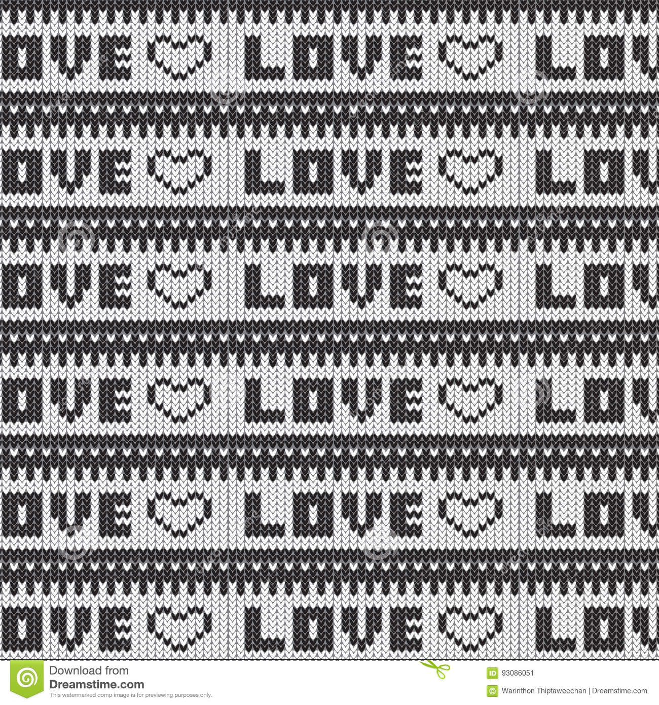 Black And White Love Heart Striped Knitted Pattern Background Stock ...