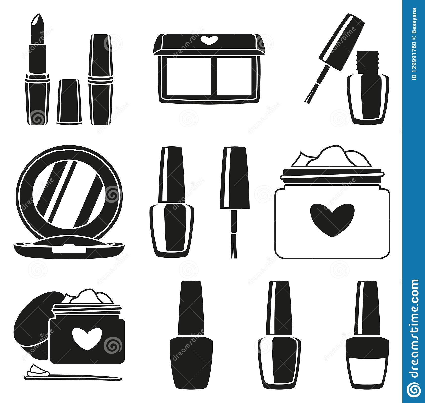 Cosmetic objects for women gifts. Beauty themed vector illustration for icon, logo, stamp, label, sticker, badge, gift card or certificate decoration