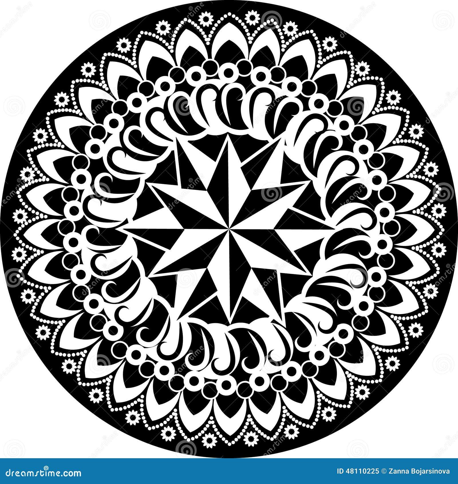 Easy Floor Plans Black And White Mandala Stock Vector Illustration Of