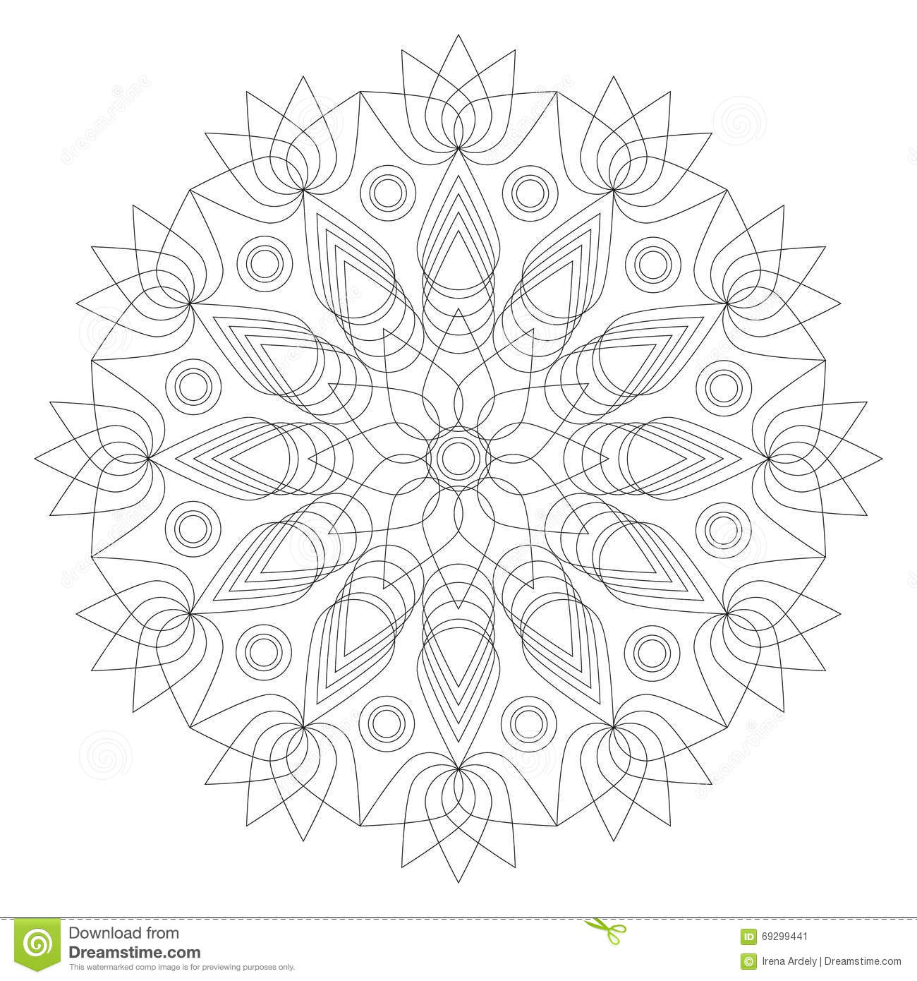 Black And White Mandala Lotus Flower Shape Adult Coloring Book