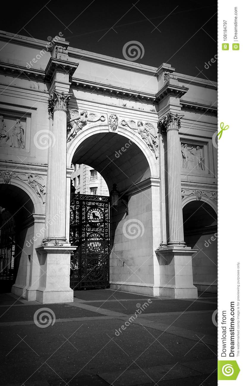 Black and white marble arch