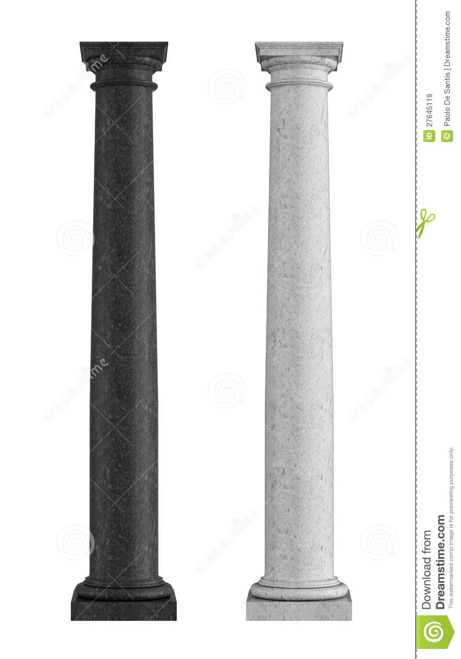 Black And White Marble Tuscan Column Royalty Free Stock