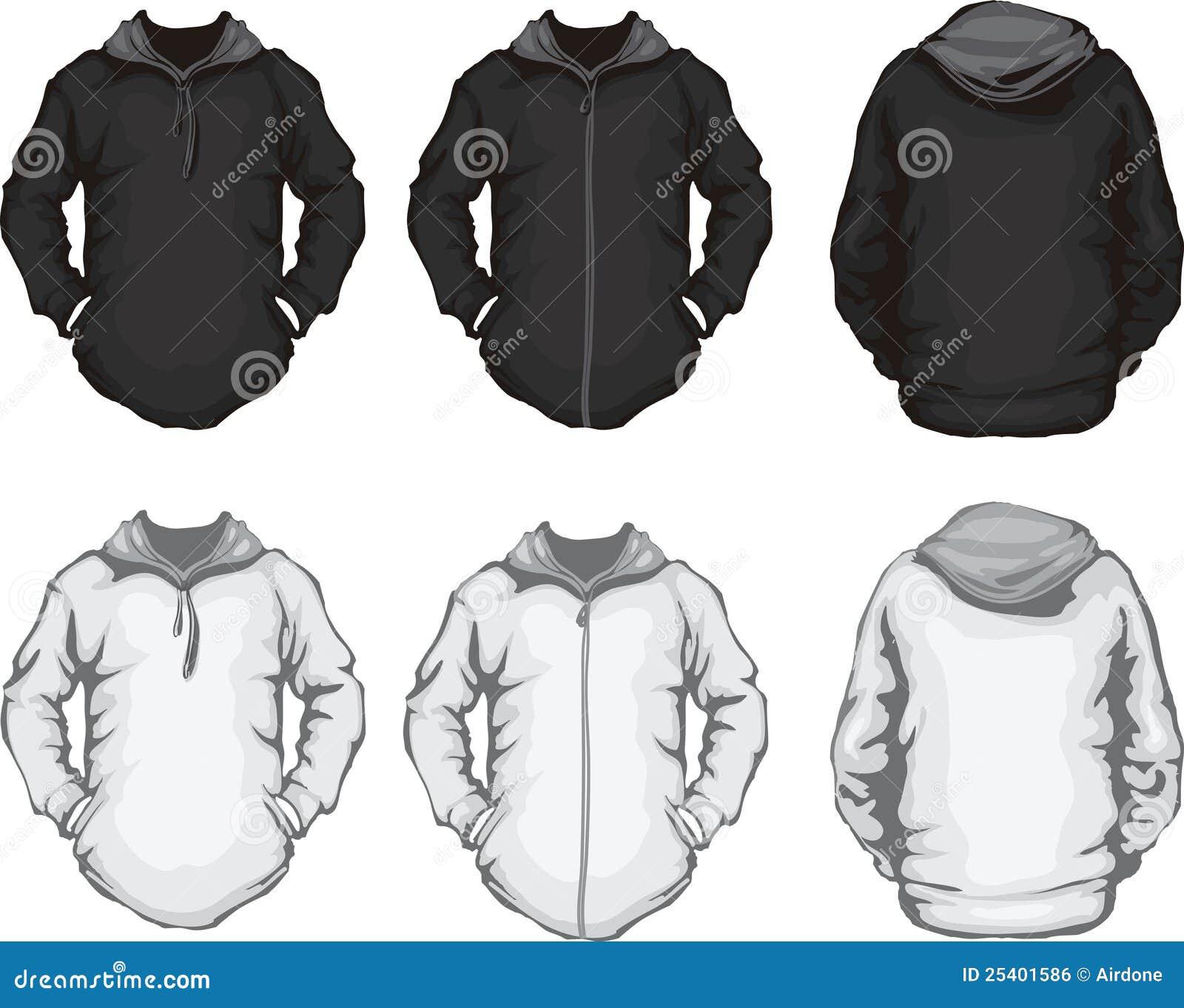 Black White Men's Hoodie Sweatshirt Template Royalty Free Stock