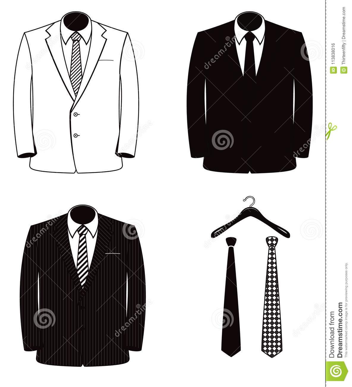 Black And White Men`s Suit And Tie Vector Illustration Set