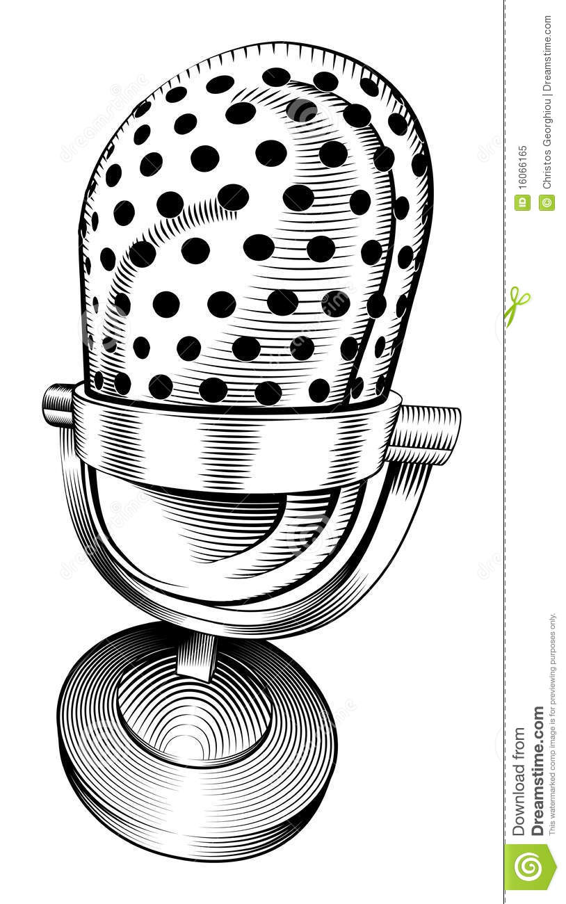 Line Art Microphone : Black and white microphone stock vector illustration of
