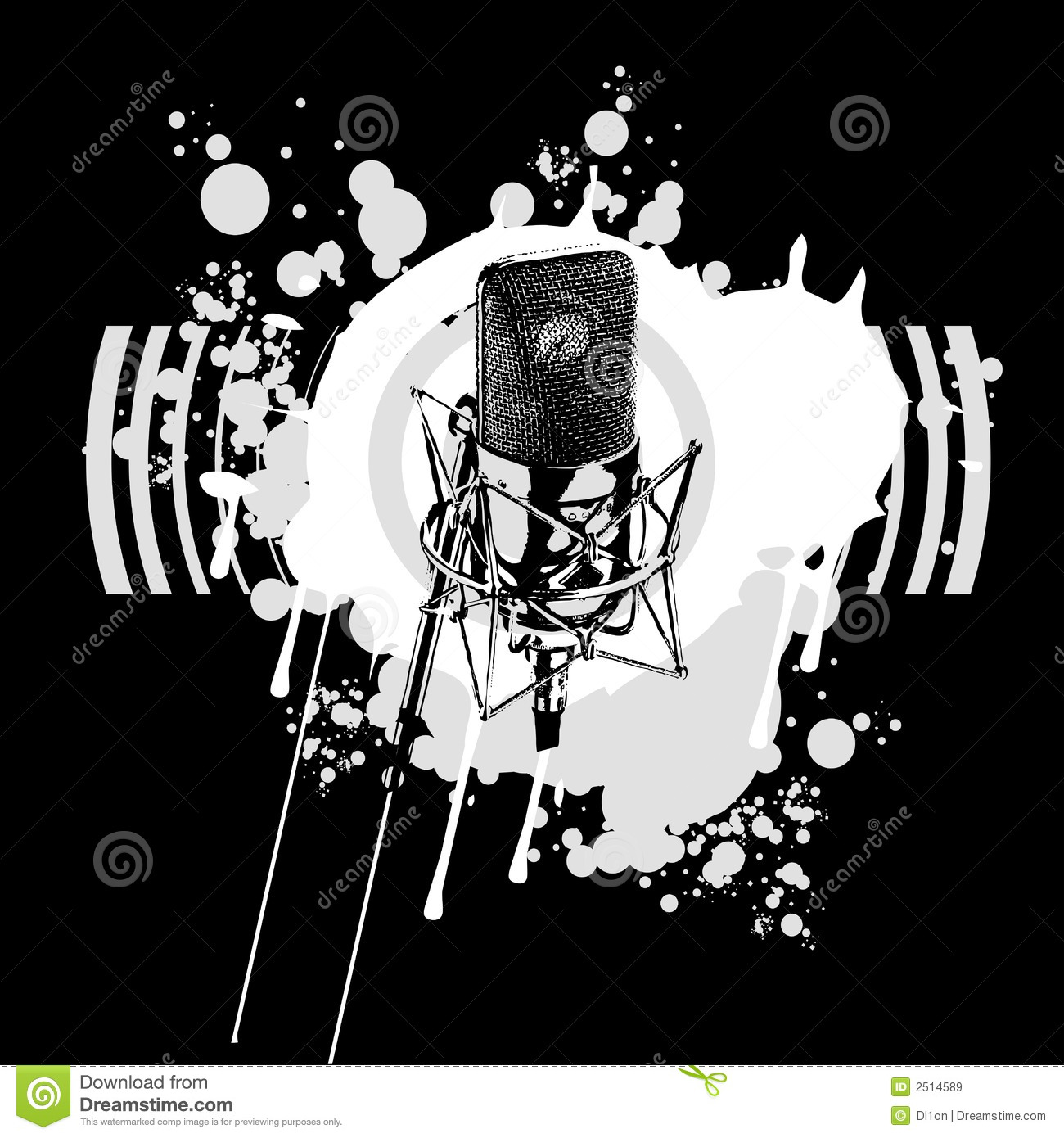 Black and White Microphone stock vector. Illustration of ...