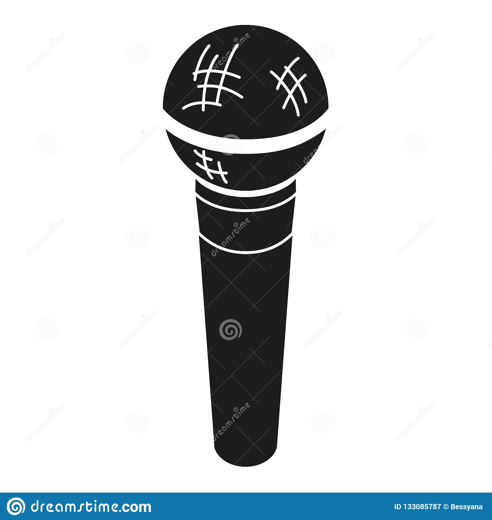 Black And White Microphone Silhouette Stock Vector ...