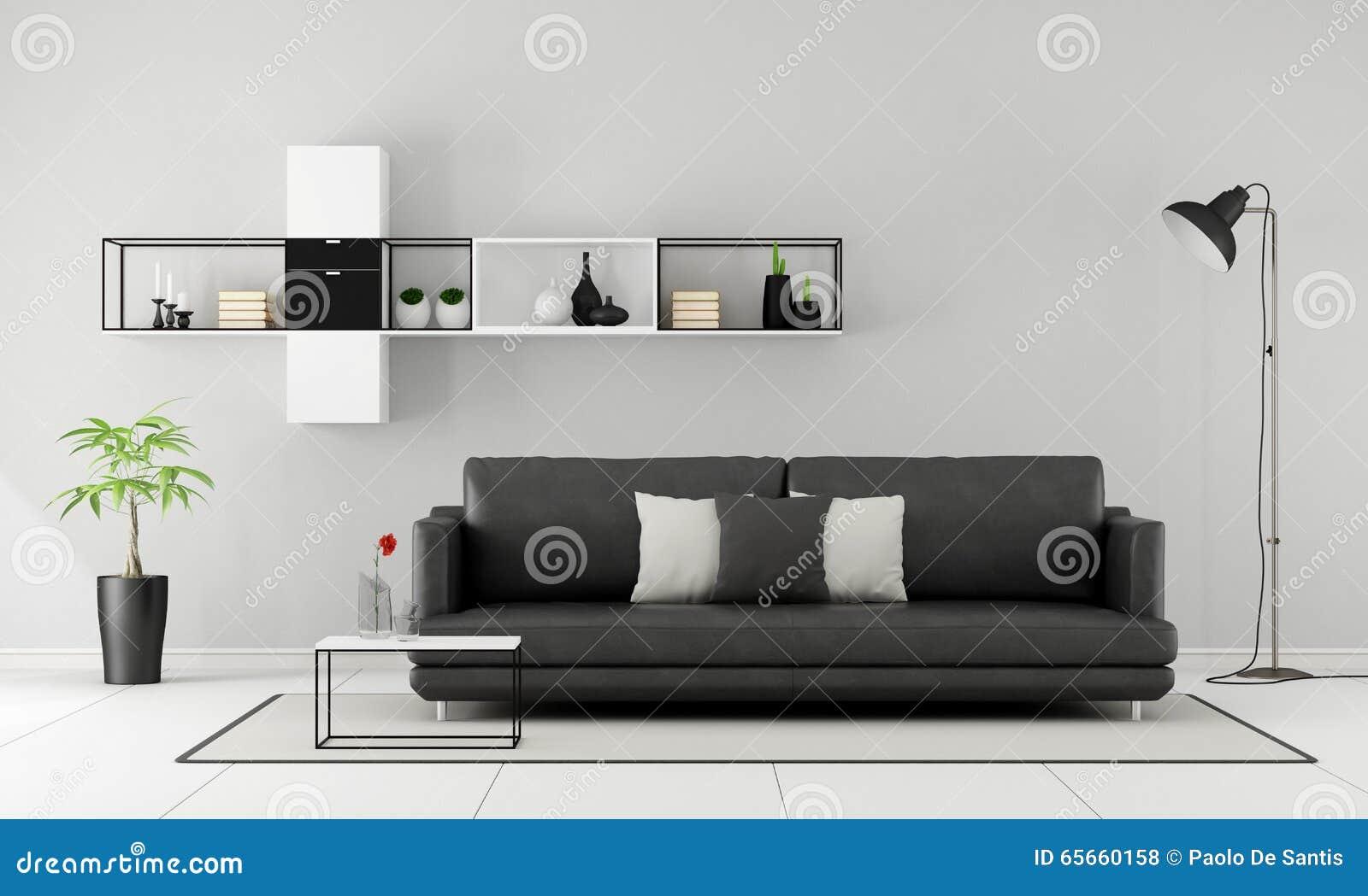 Black And White Minimalist Lounge Stock Illustration - Illustration ...