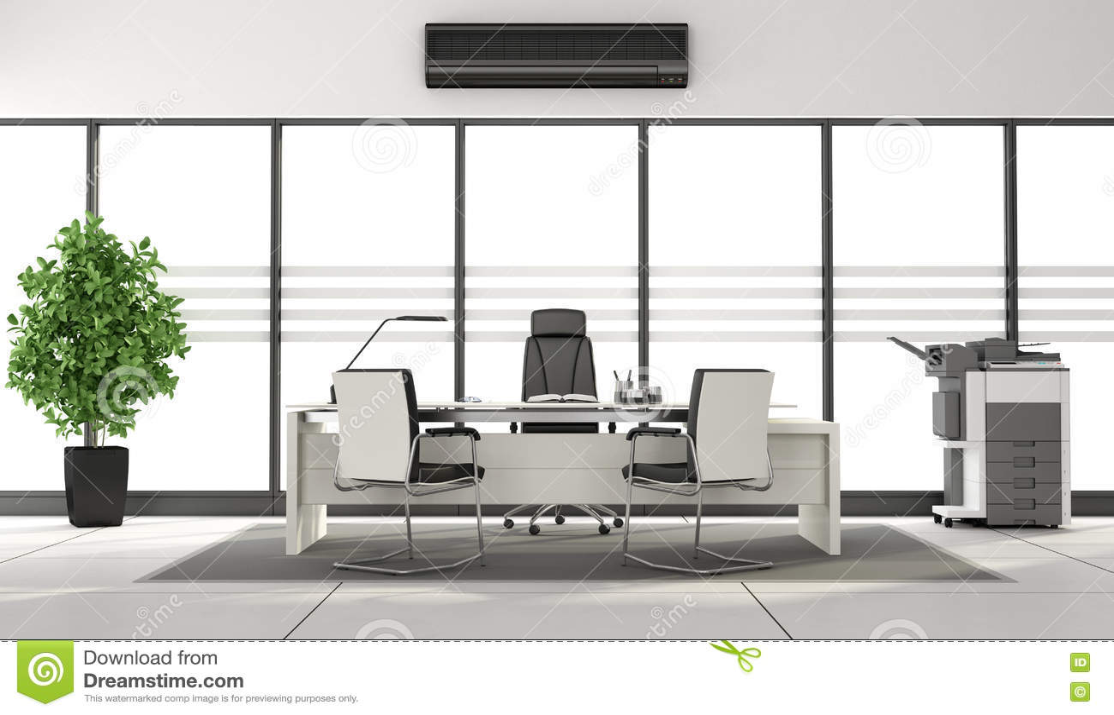 Black And White Minimalist Office Stock Illustration - Image: 74052880