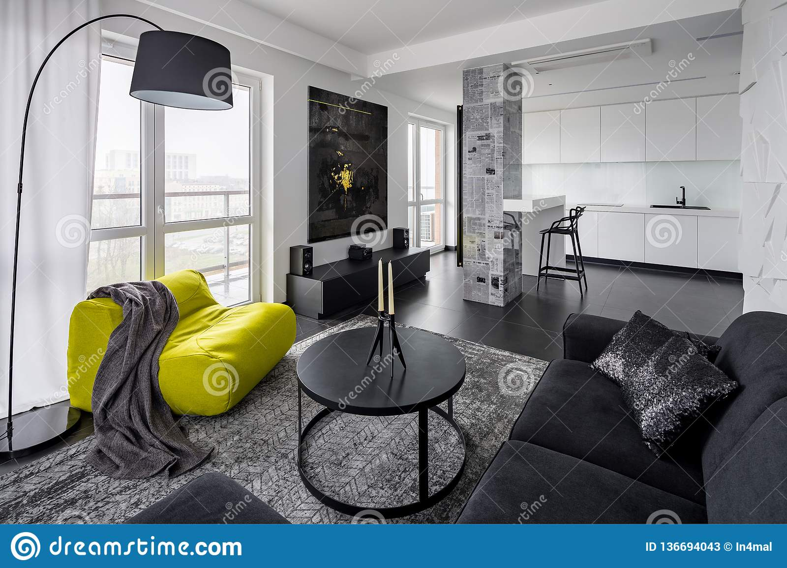 Black And White Living Room Stock Image - Image of black ...