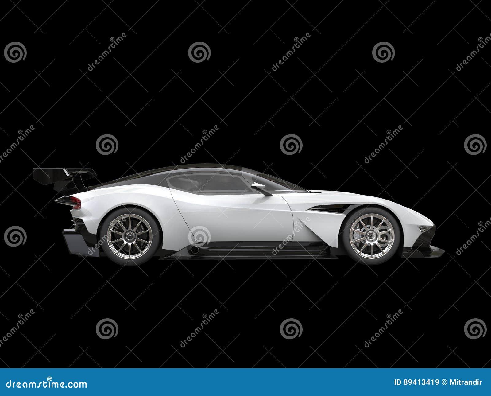 Black And White Modern Sports Super Car On Black Background Stock