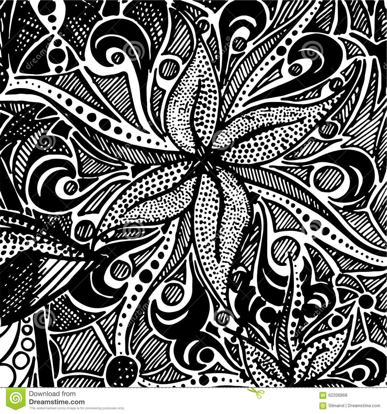 Black And White Monochrome Zentangle Doodle Vector Pattern