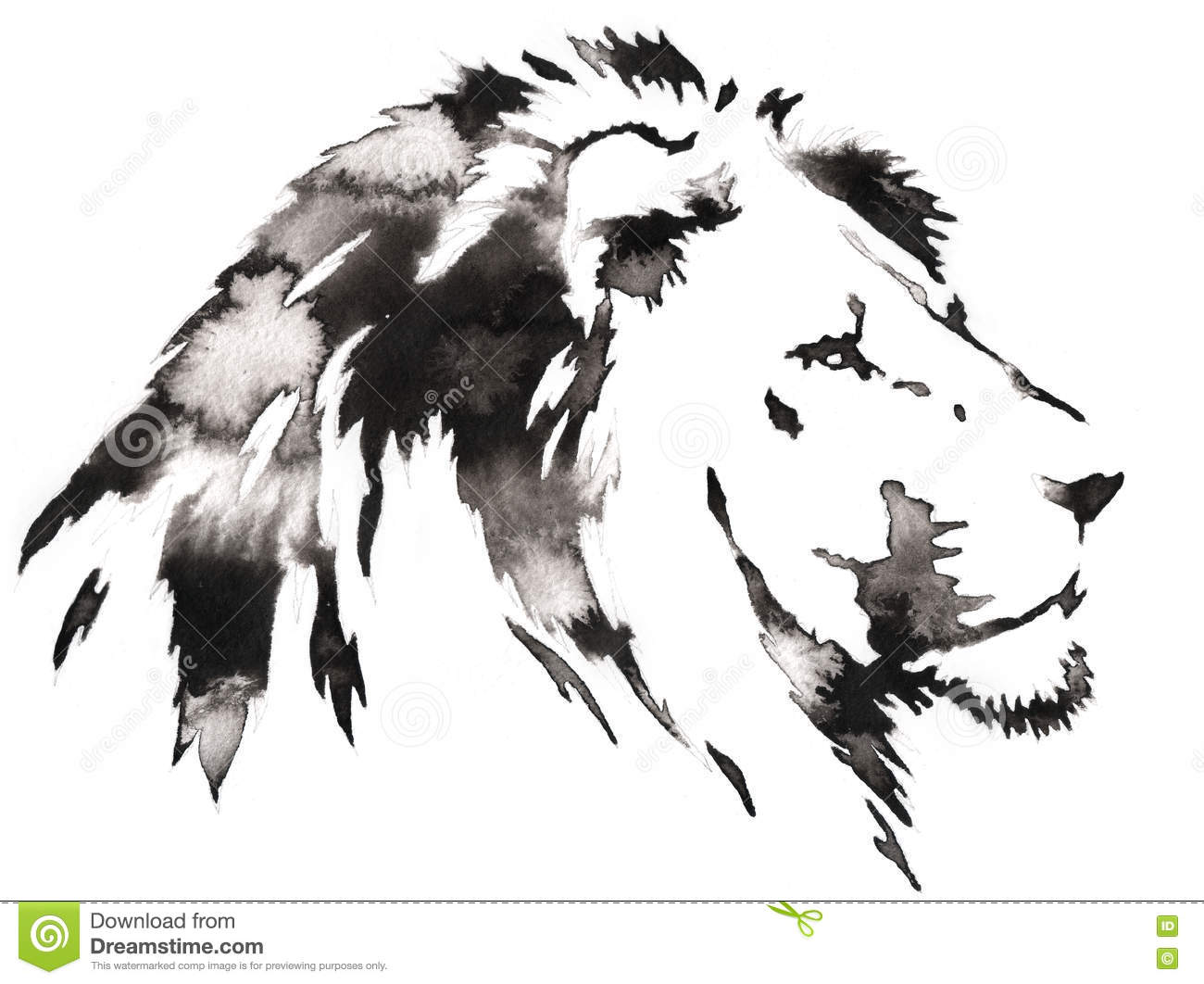 black and white monochrome painting with water and ink draw lion