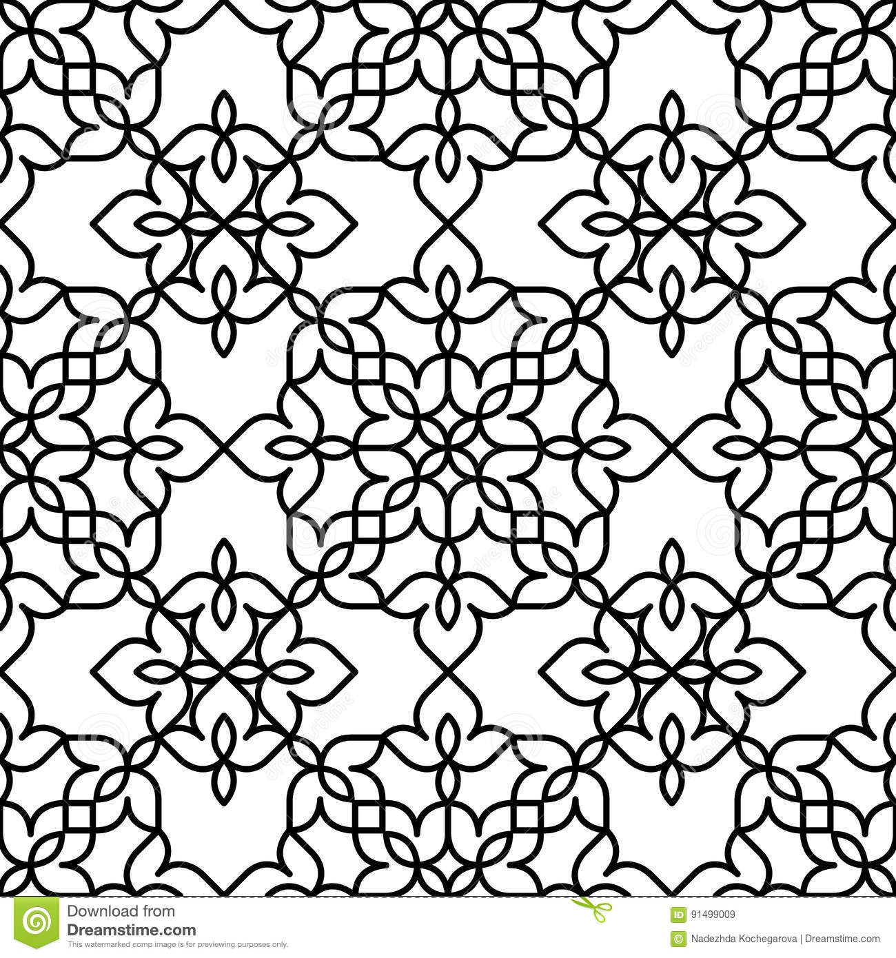 black and white moroccan pattern stock vector