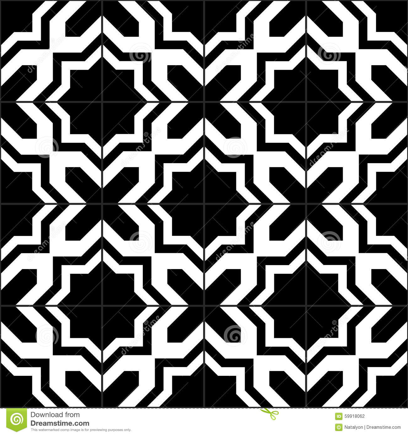 Black and white moroccan tiles seamless pattern vector for Tiles black and white