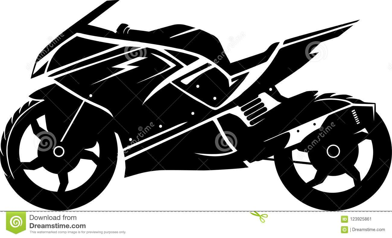 Black And White Motorcycle Silhouette Stock Vector Illustration Of