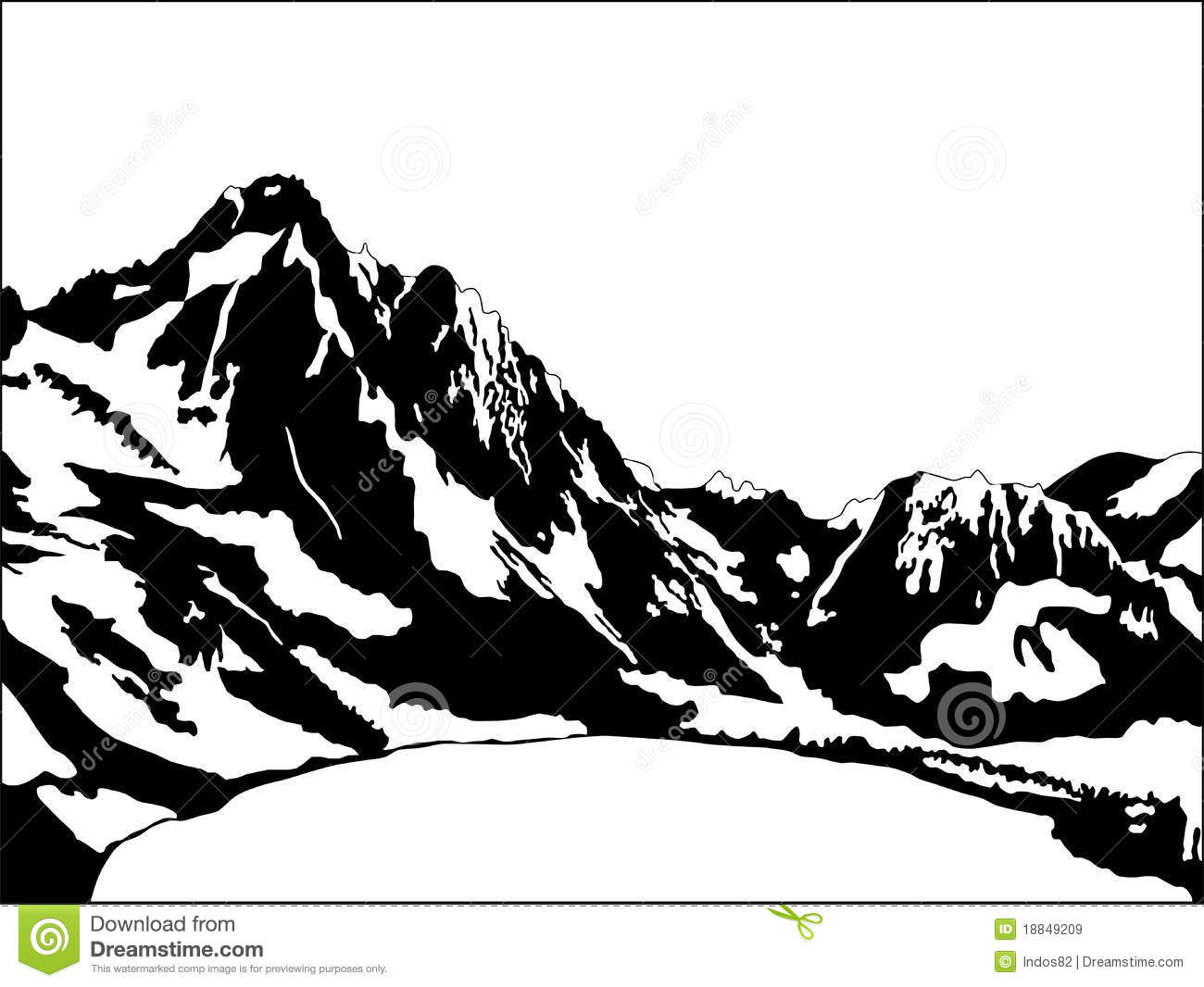 Black And White Mountain Stock Vector Illustration Of