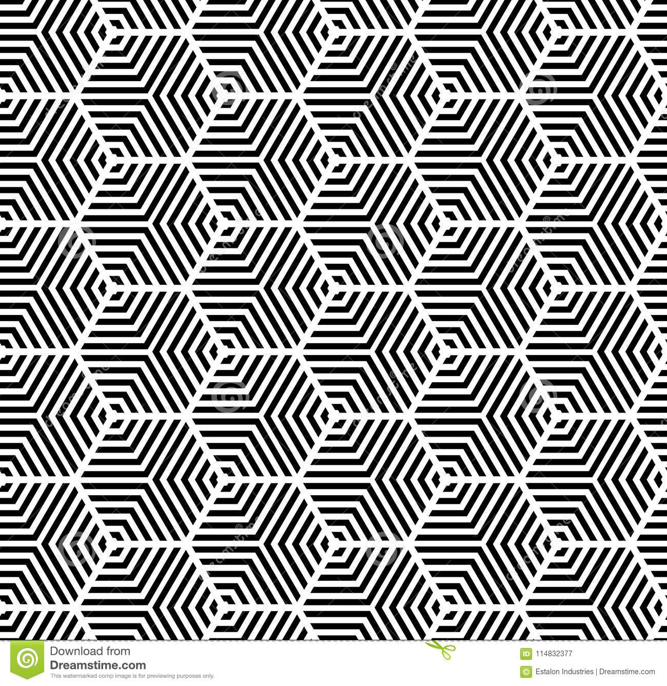 Black on white multi hexagonal line pattern seamless repeat background