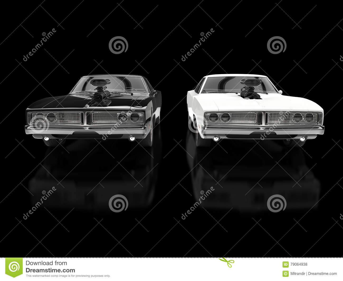 Black And White Muscle Cars On Black Background Stock Illustration