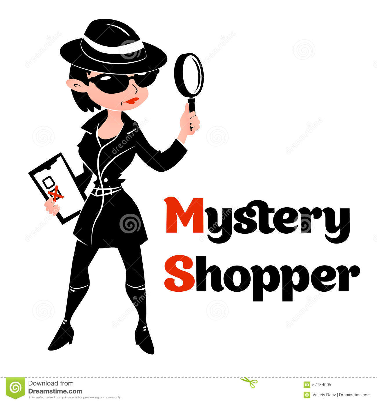 Black And White Mystery Shopper Woman In Spy Coat Stock