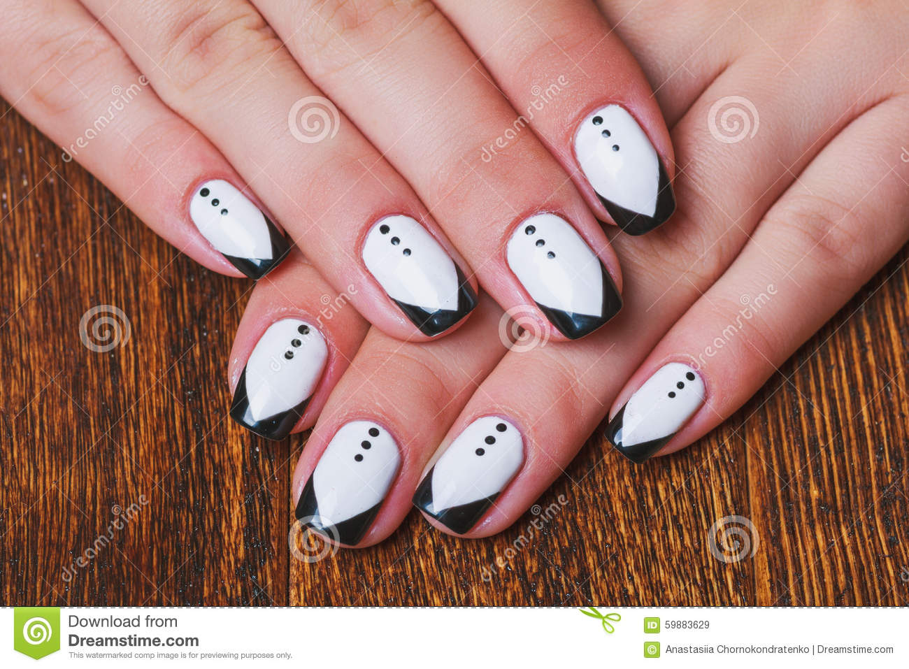 Black And White Nail Art On Wooden Background Stock Image Image Of