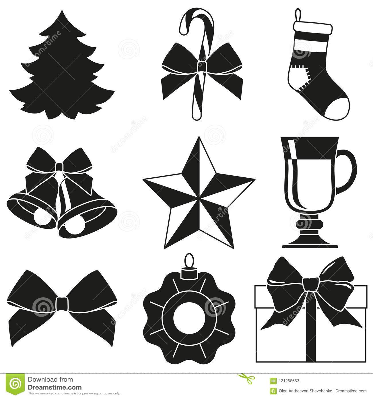 black and white 9 new year elements silhouette set