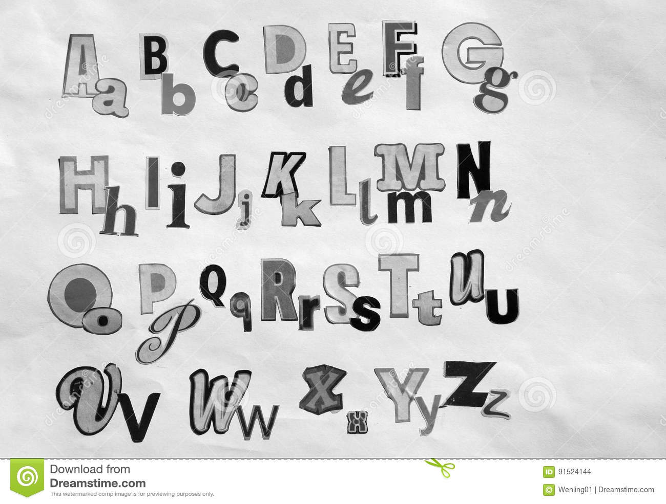 Download Black And White 26 Newspaper Letters Stock Photo