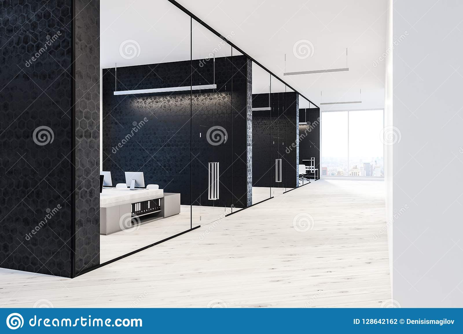 Black And White Office Lobby Interior Stock Illustration ...