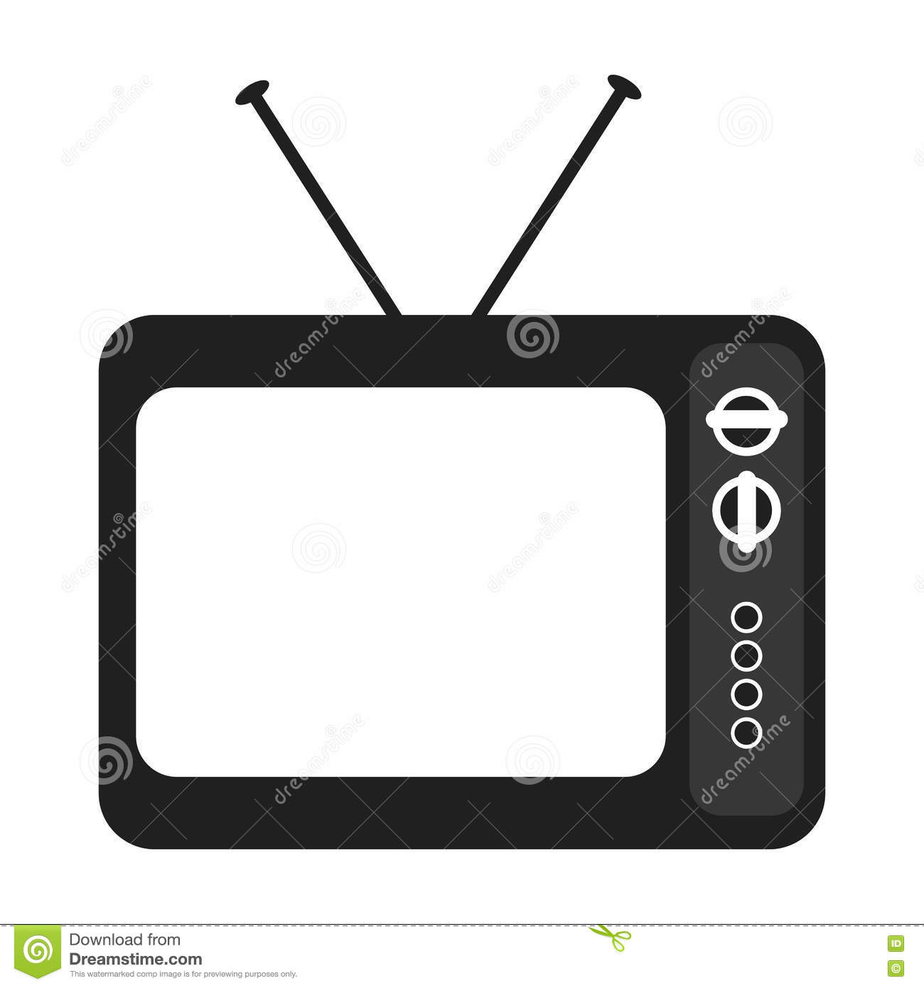 Black And White Old Tv Device Vector Graphic Stock Vector