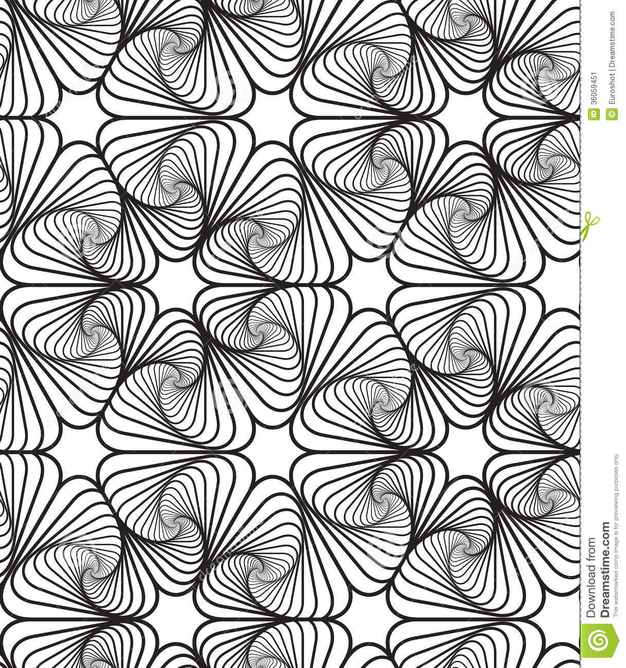Line Drawing Backgrounds : Black and white op art design vector seamless pattern
