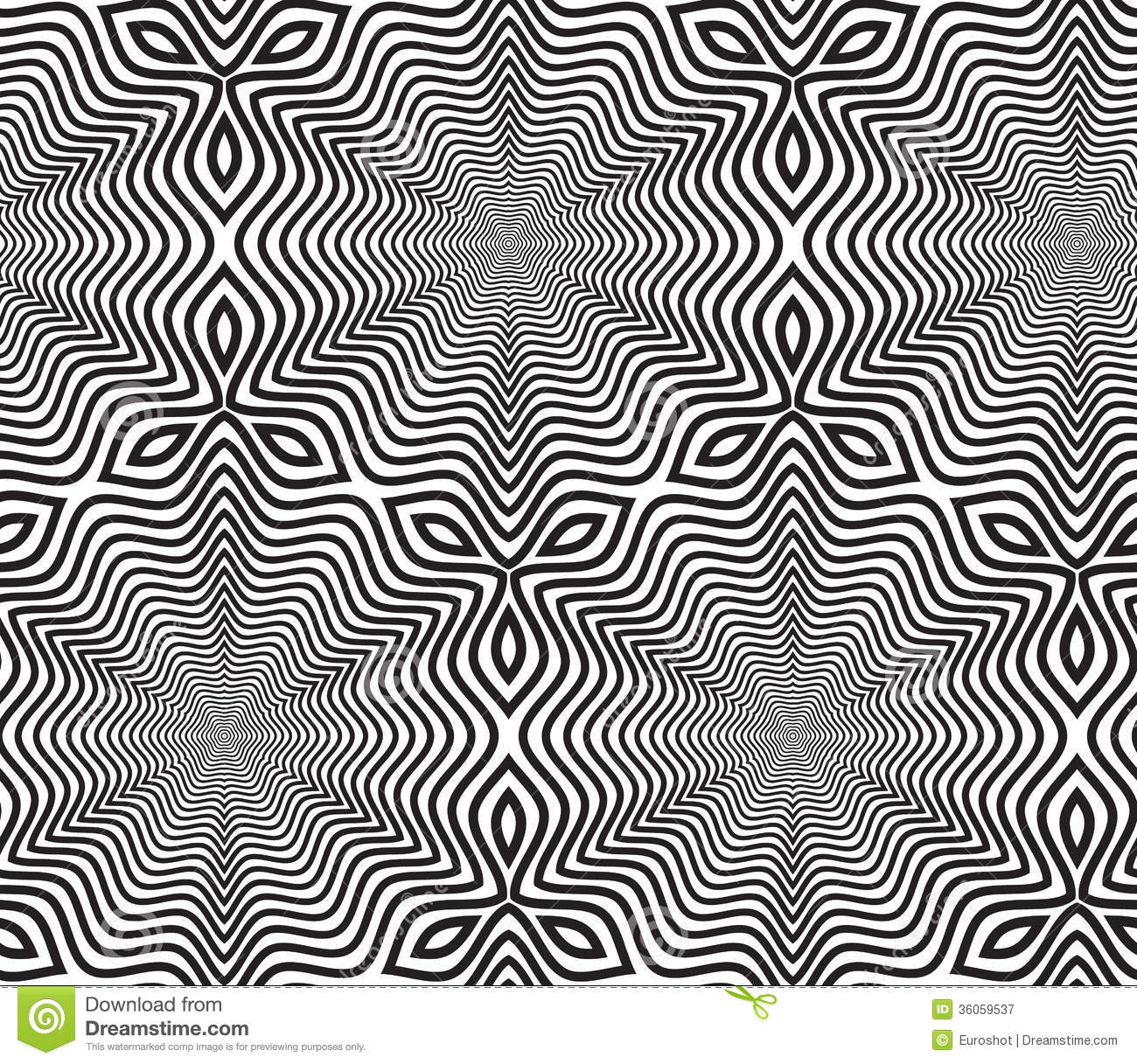 Line Design Op Art : Black and white op art design vector seamless pattern