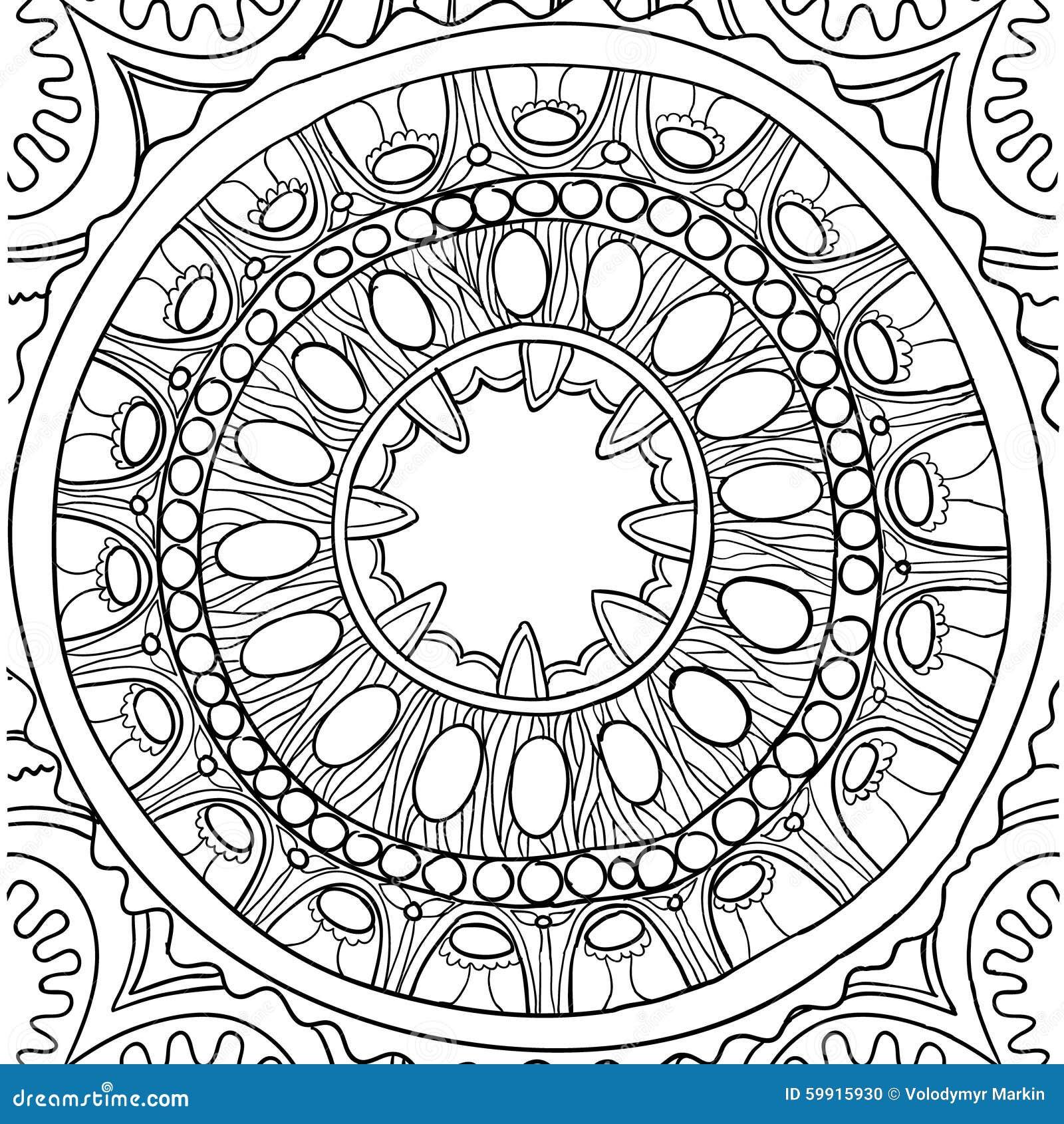 Black And White Ornament Floral Mandala Hand Drawn