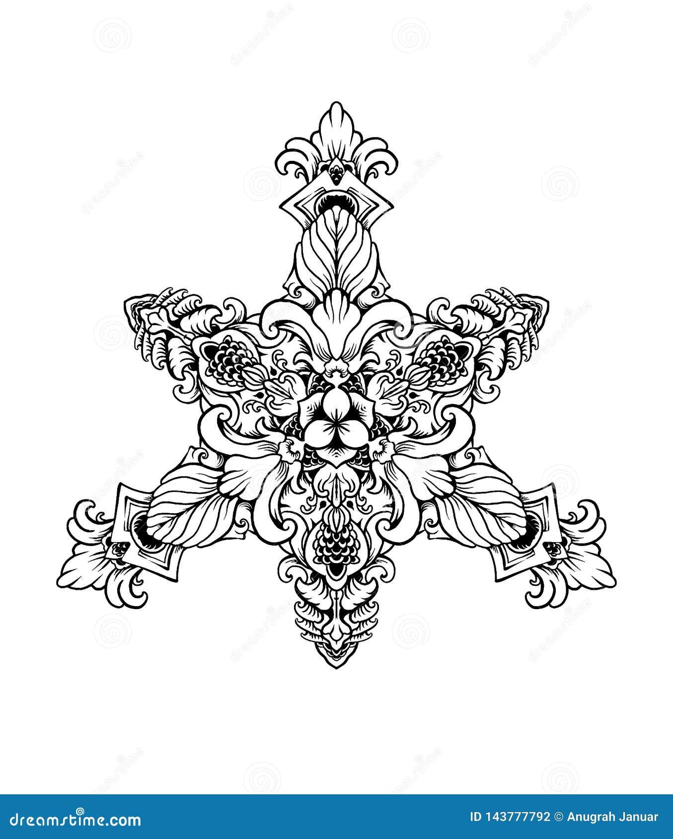 BLACK WHITE ORNAMENT MANDALA