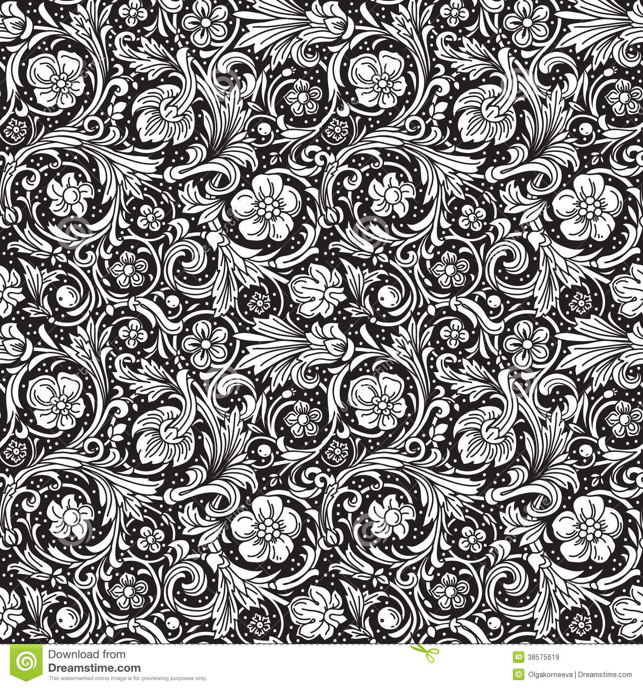 Black Flower And Bud Pattern Royalty Free Stock Photos: Black And White Ornamental Seamless Vector Pattern Royalty