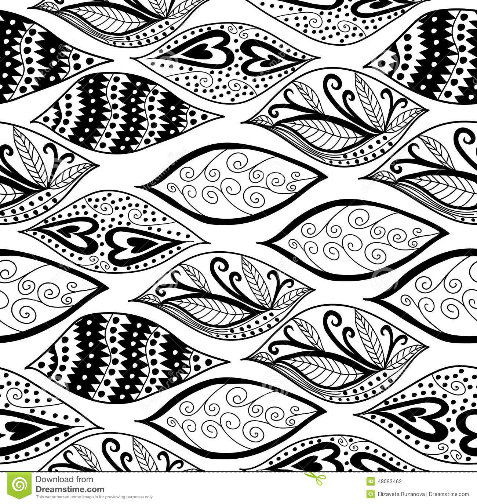 Black and white ornaments - Black Ornaments Pattern Seamless White