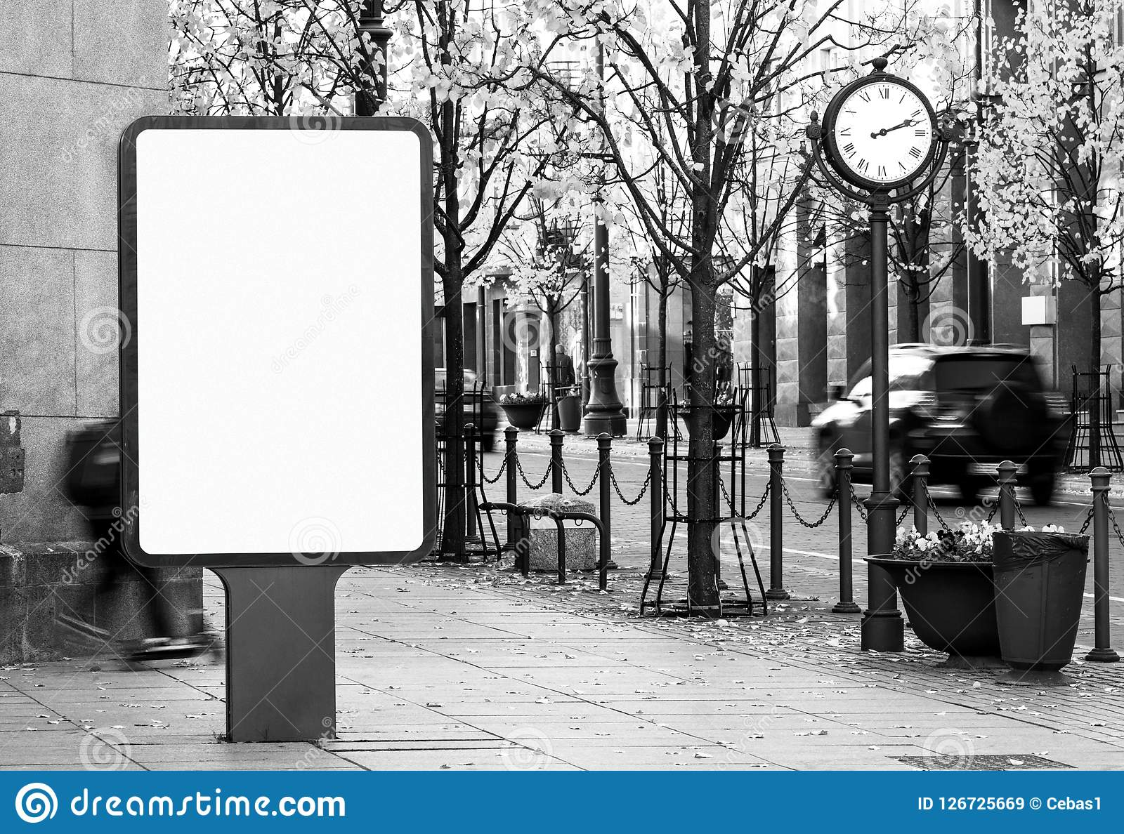 Black and white outdoor billboard mockup on city street