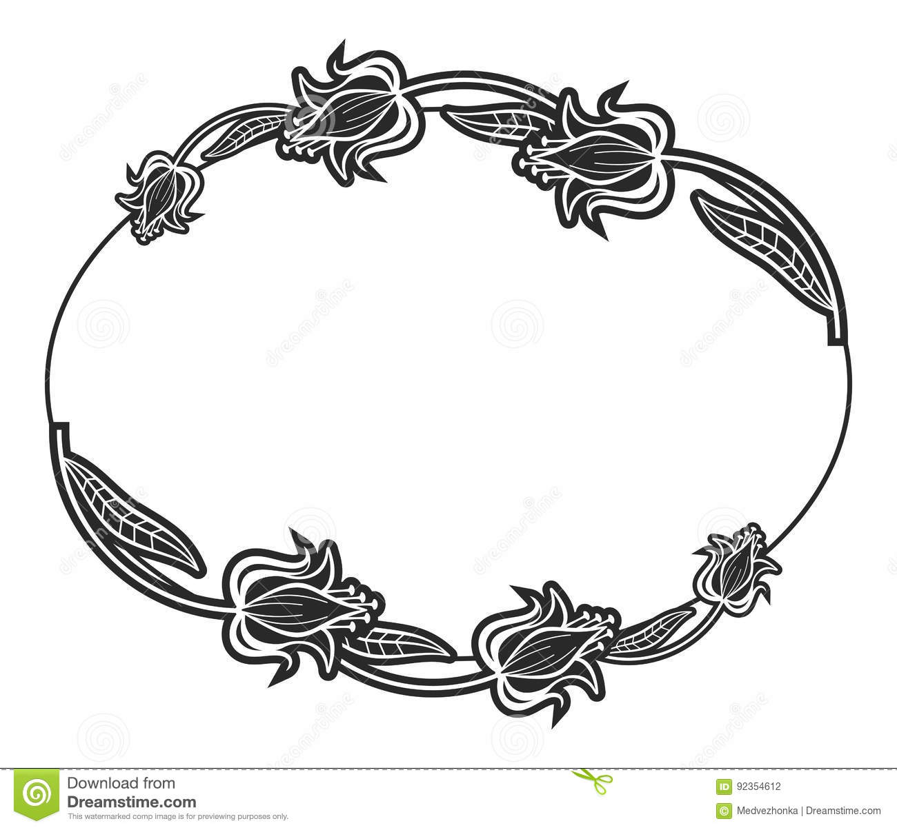 black and white oval label with flowers. stock photo - image of