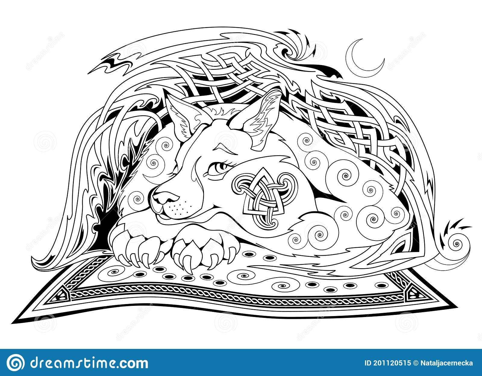 Black And White Page Coloring Book Fantasy Celtic Animal From Ancient Legend With Triskele Symbol Modern Print For Fabric And Stock Vector Illustration Of Activity Fantastic 201120515
