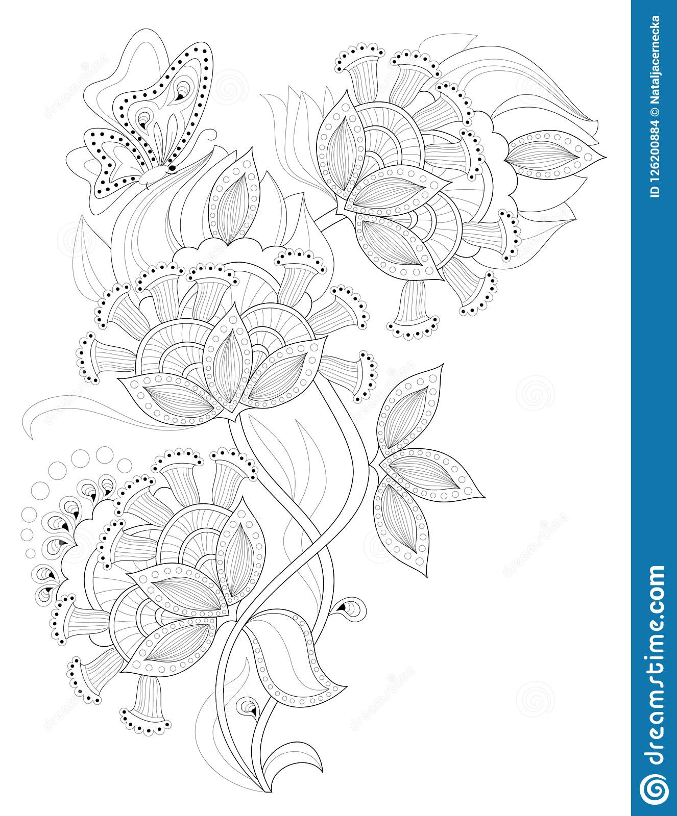 Black And White Page For Coloring Fantasy Drawing Of Beautiful