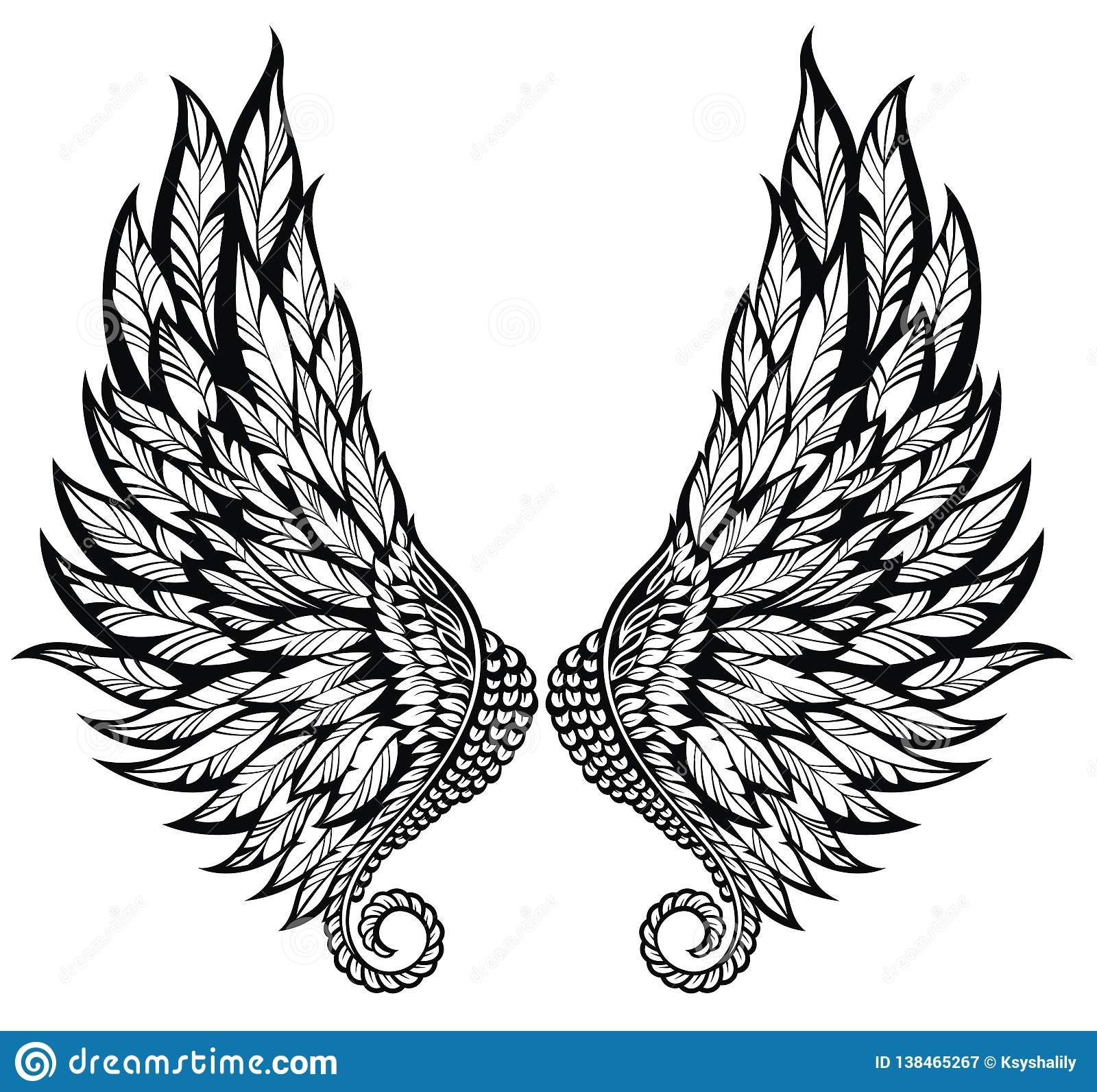 Black And White Pair Of Angel Wings . Tattoo Stdesign Stock Vector ...