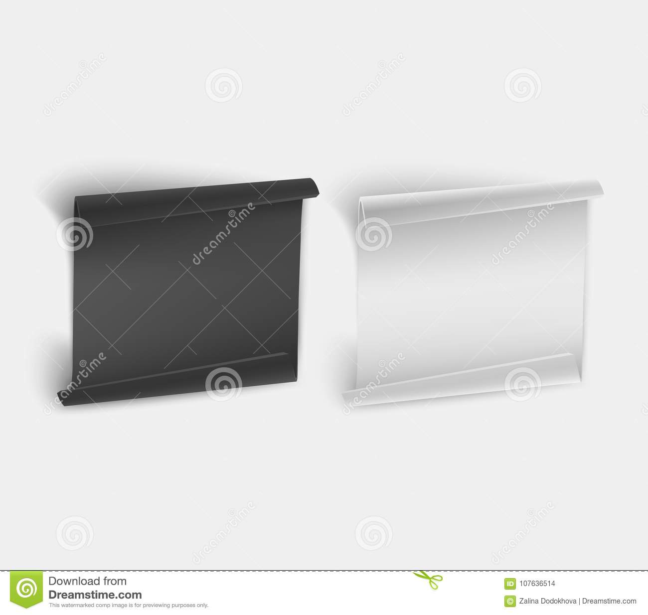 black and white paper sheet template on white a sheet of paper for