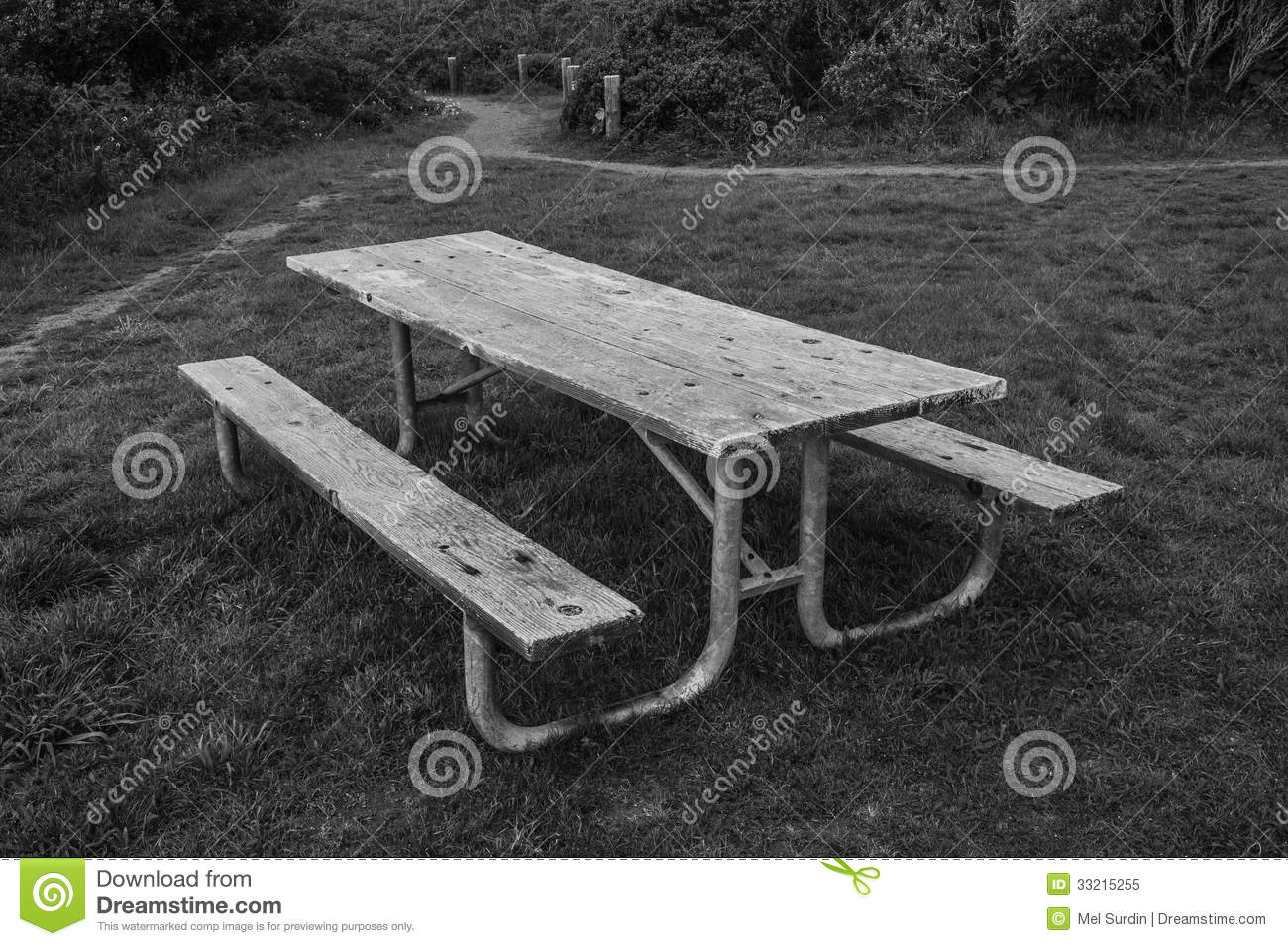 Black And White Park Bench Stock Image Image Of Quiet