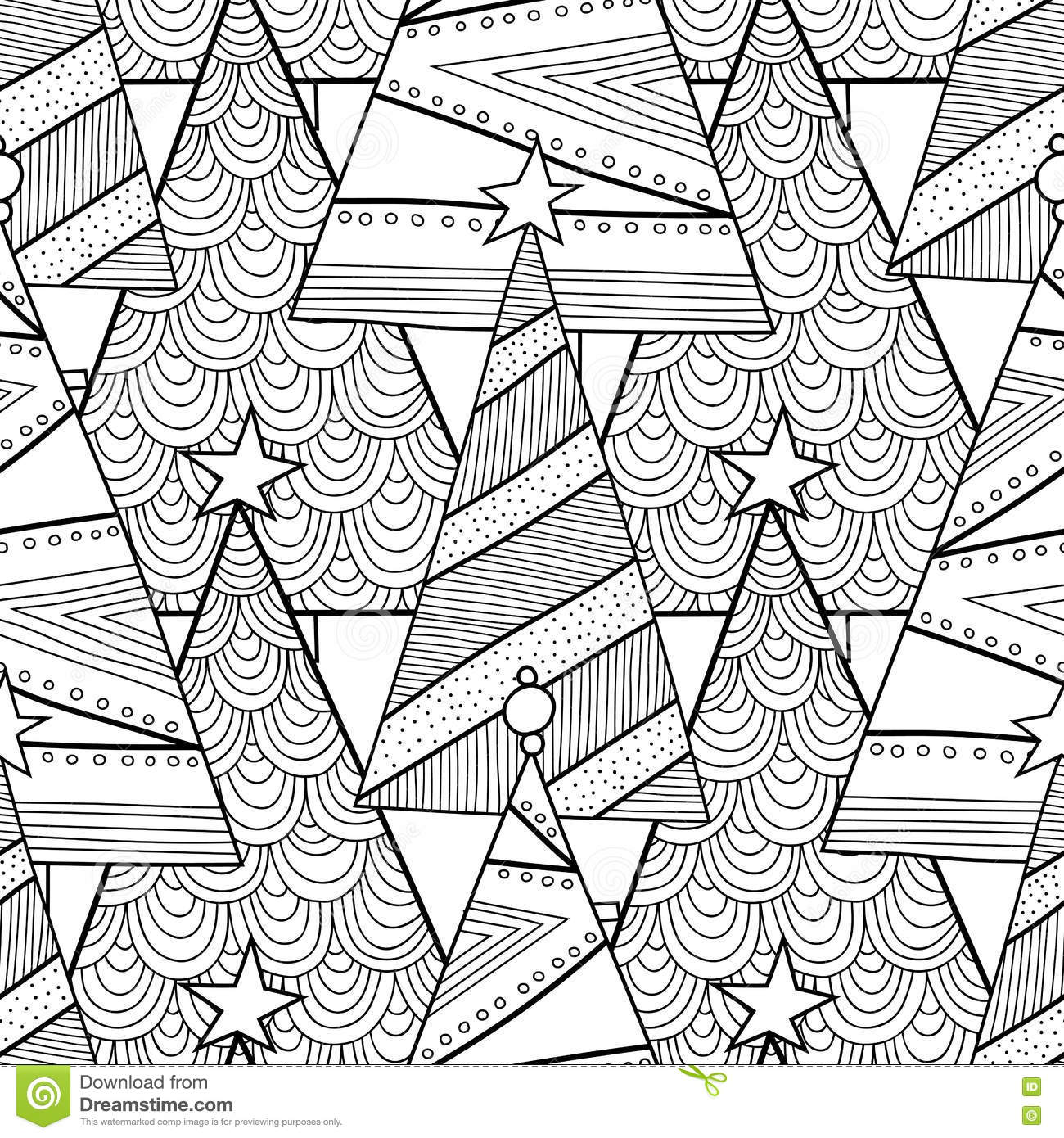 Black And White Pattern With Christmas Trees For Coloring ...  Black And White...