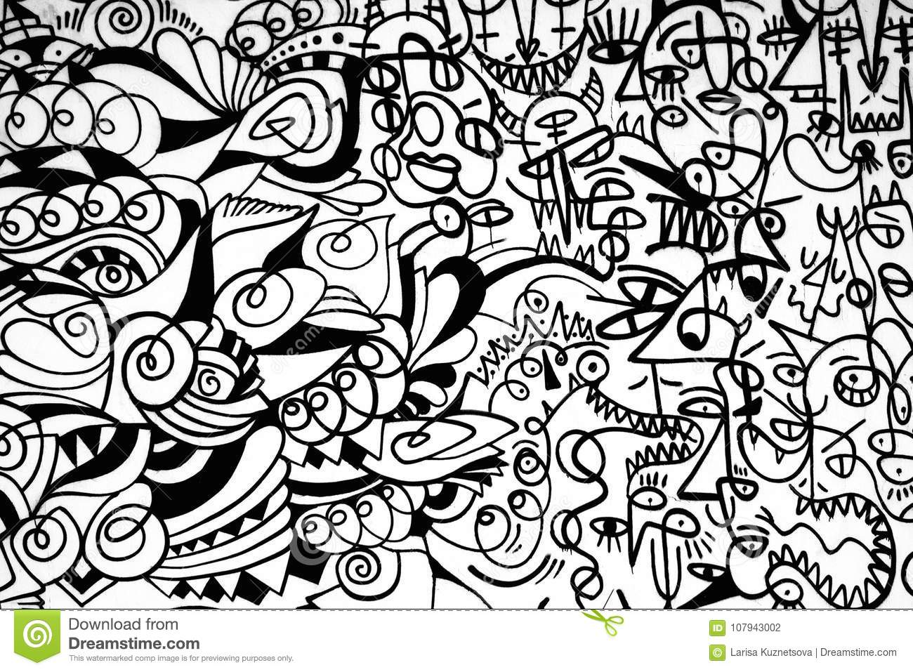 Black And White Pattern Graffiti On The Wall Editorial
