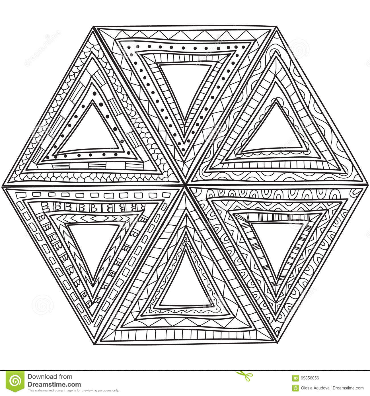 black and white pattern of triangles coloring pages for adults