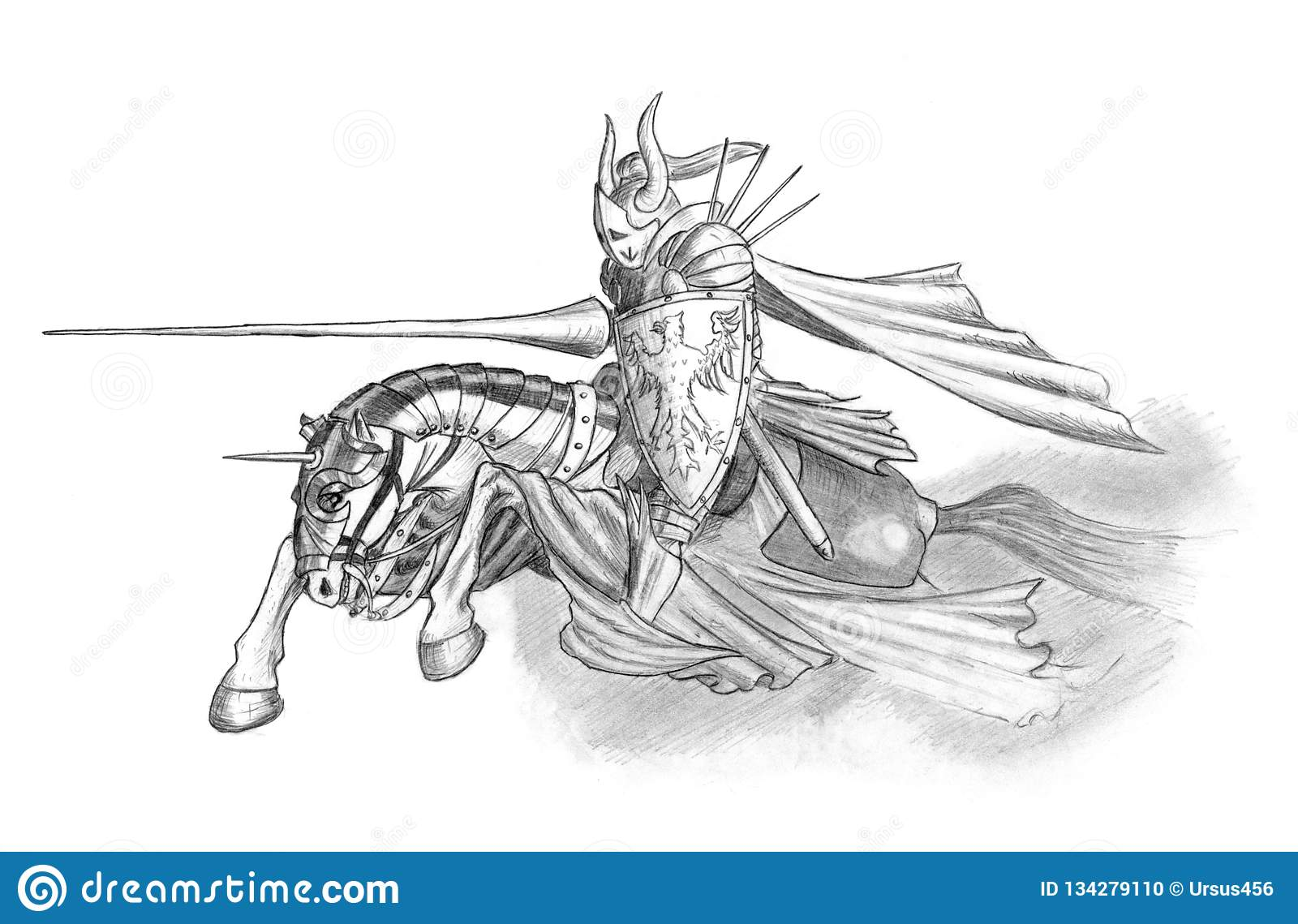 Pencil Drawing Of Medieval Or Fantasy Knight Riding On Horse With Lance Stock Illustration Illustration Of Coatofarms Armor 134279110